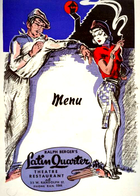 CHICAGO - RESTAURANT - LATIN QUARTER - 23 WEST RANDOLPH - MENU COVER