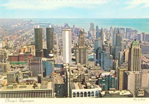 Postcard-chicago-looking-north-from-downtown-aerial-nice-mad-1960s