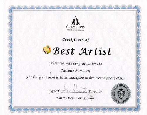 Natalie certificate
