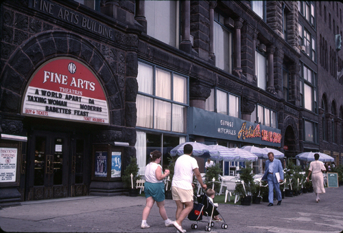 1998 Fine Arts building and sidewalk cafe on Michigan Ave